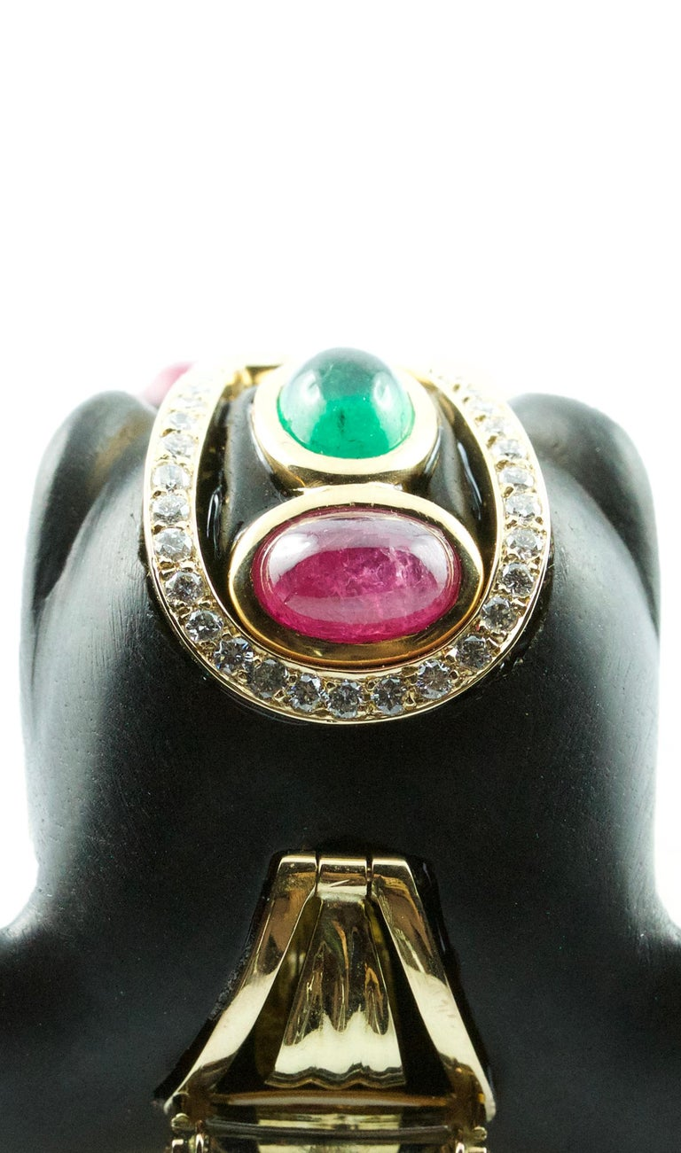 Women's or Men's Diamonds 18 Karat Yellow Gold Brooch and Pendant Elephant with Emeralds Rubies For Sale