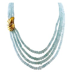 Diamonds, 18 Karat Yellow Gold Closure, Multi-Strand, Aquamarines Necklace