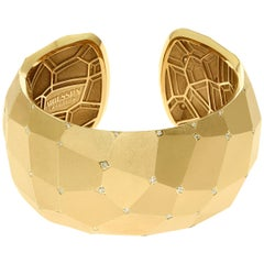 Diamonds 18 Karat Yellow Matte Gold Geometry Big Bracelet