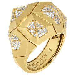 Diamonds 18 Karat Yellow Matte Gold Geometry Big Ring