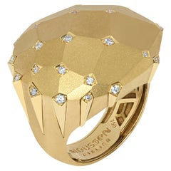 Diamonds 18 Karat Yellow Matte Gold Geometry Big Ring