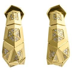 Diamonds 18 Karat Yellow Matte Gold Geometry Earrings