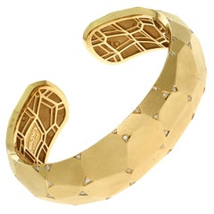 Diamonds 18 Karat Yellow Matte Gold Geometry Small Bracelet