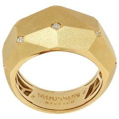 Diamonds 18 Karat Yellow Matte Gold Geometry Small Ring