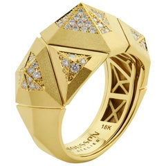 Diamonds 18 Karat Yellow Matte Gold Geometry Small Ring