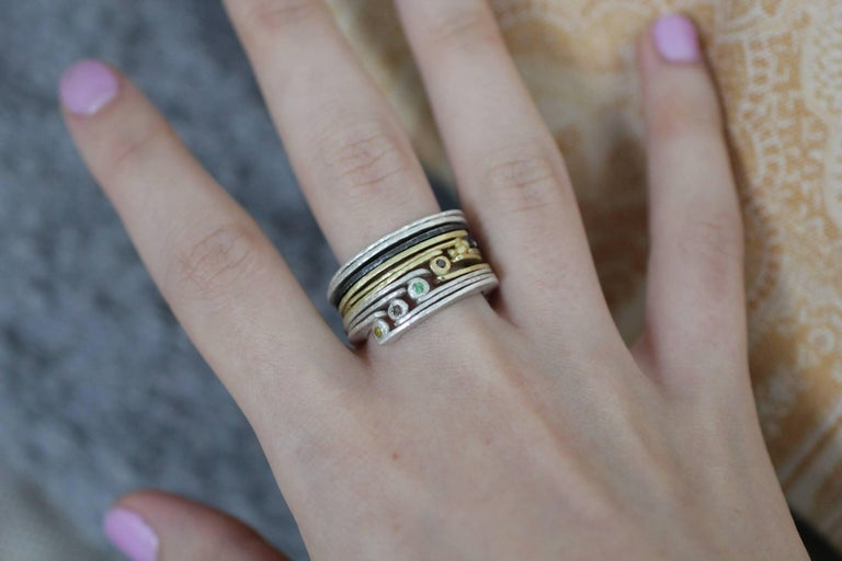Diamond 18K Gold Sterling Silver Fashion Band Unisex Ring for Men Women Stack#12 For Sale 12