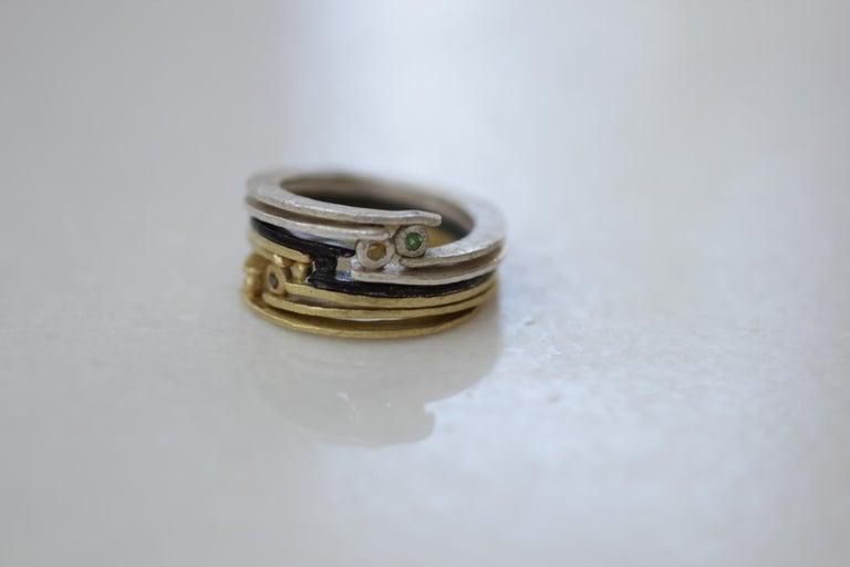 Artisan Diamond 18K Gold Sterling Silver Fashion Band Unisex Ring for Men Women Stack#12 For Sale