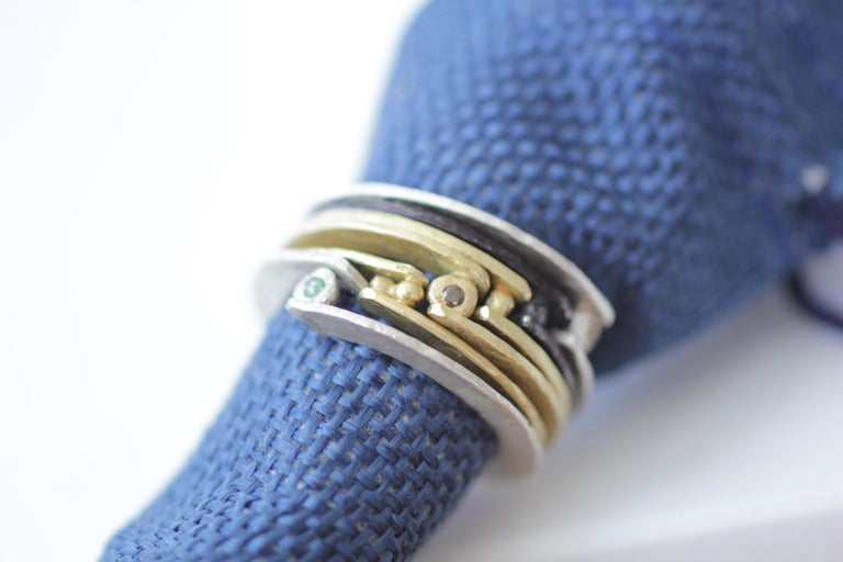 Women's or Men's Diamond 18K Gold Sterling Silver Fashion Band Unisex Ring for Men Women Stack#12 For Sale