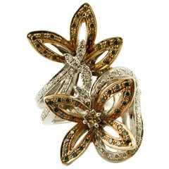 Diamonds, 18 Karat White and Yellow Gold Flower Ring