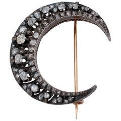 Diamonds, 19th Century 18 Karat and Silver Moon Shaped Brooch