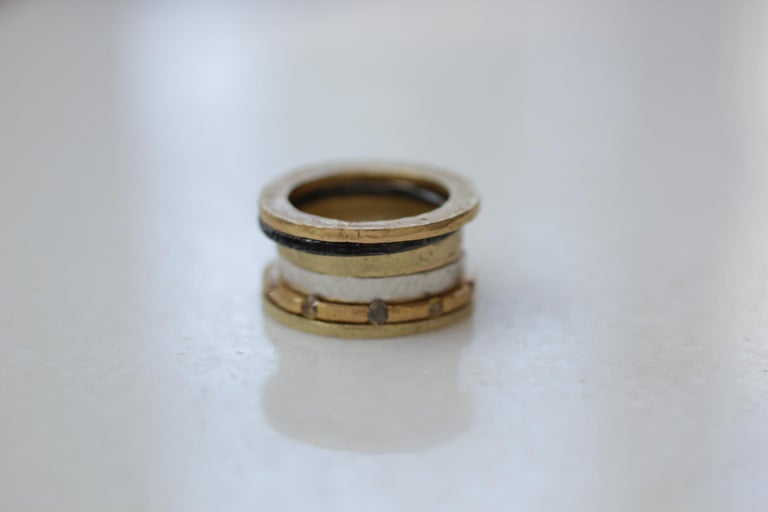 Simplicity Stack #3 modern design. Color diamonds set in 22K gold combined with 18k gold, and sterling silver rings. Great as a Bridal or a Wedding Band.    These striking rings are first hand forged in 21k gold, then cast in various metals and a