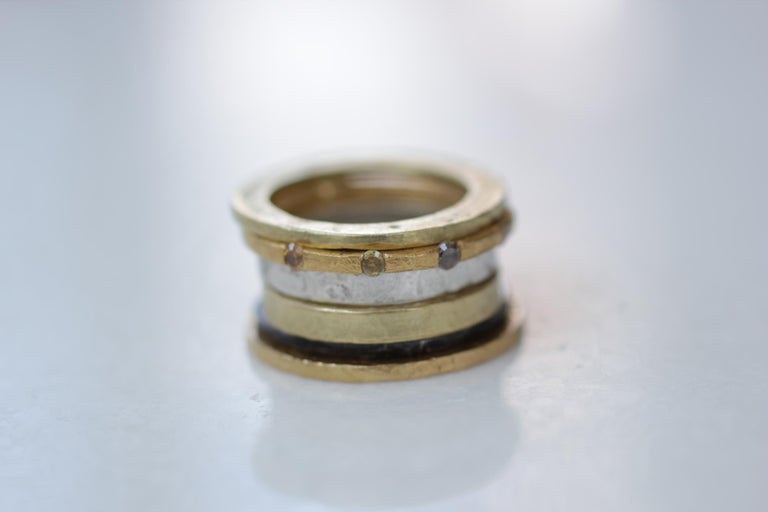Brown Diamonds Yellow Gold Bridal Wedding Band Ring, Stack #3  In New Condition For Sale In New York, NY