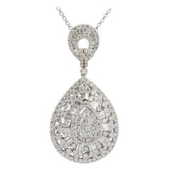 Diamonds 5.6 Carat 18 Karat White Gold Pendant