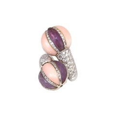 Diamonds Amethyst Angel Skin Сiaravolo Italian Ring 18k White Gold, 2000