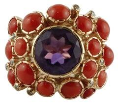 Diamonds, Amethyst, Coral, 14 Karat Yellow Gold Ring