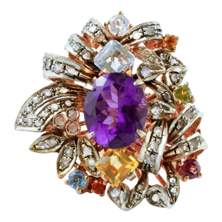 Diamonds, Amethyst, Peridot, Garnet, Aquamarines, Topaz, 9K Gold and Silver Ring For Sale