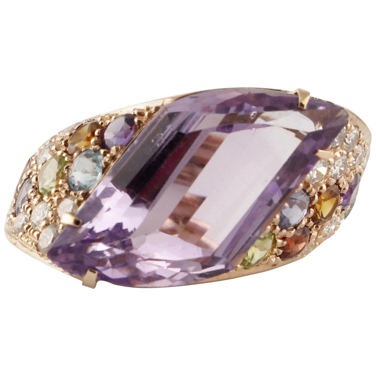 Diamonds Amethyst Peridots Orange Light Blue Topaz Iolite Garnet Rose Gold Ring