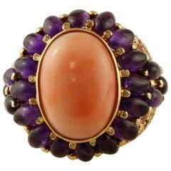 Diamonds, Amethyst, Tourmaline, Coral, 14 Karat Yellow Gold Ring