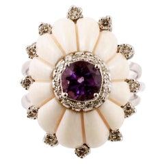 Diamonds, Amethyst, White Hard Stone, 14 Karat White Gold Cluster/Fashion Ring