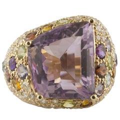 Diamonds Amethyst Yellow and Blue Topaz Peridot Iolite Garnet Rose Gold Ring