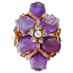 Diamonds, Amethyst, Yellow Topaz, Pearl, Rose and White Gold Cluster Retrò Ring