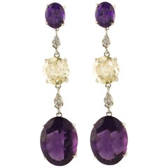 Diamonds Amethyste Yellow Topazes White Gold Earrings