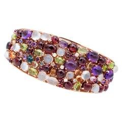Diamonds, Amethysts, Garnets, Peridots, Moonstones, Rose Gold Clumper Bracelet