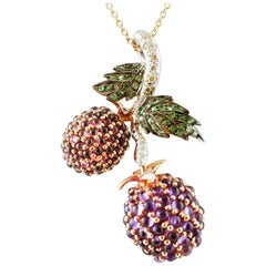 Diamonds Amethysts Garnets, Tsavorites, 9 Karat Gold and Silver Pendant Necklace
