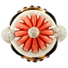 Diamonds, Amethysts, Onyx, White Agate, Coral 14 Karat Rose Gold Dome Ring
