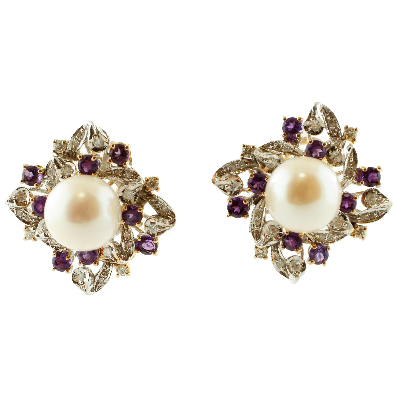 Diamonds, Amethysts, Pearls, 14 Karat White and Rose Gold Stud Earrings