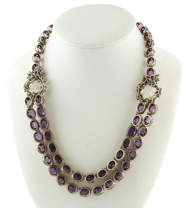 Retro Diamonds Amethysts Rock Crystal Flowers Little Pearls Rose Gold Silver Necklace For Sale
