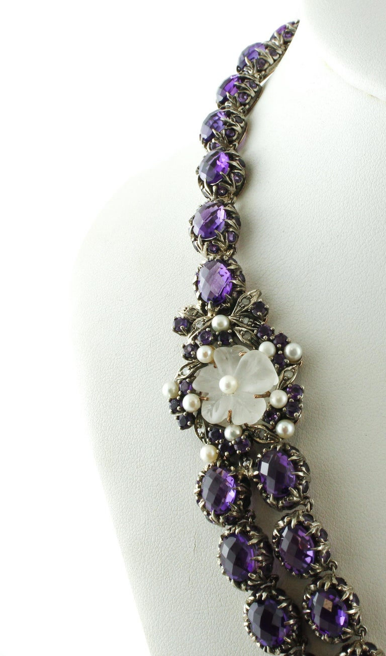 Diamonds Amethysts Rock Crystal Flowers Little Pearls Rose Gold Silver Necklace In Good Condition For Sale In Marcianise, Caserta