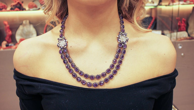 Diamonds Amethysts Rock Crystal Flowers Little Pearls Rose Gold Silver Necklace For Sale 1