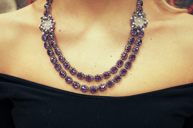 Diamonds Amethysts Rock Crystal Flowers Little Pearls Rose Gold Silver Necklace For Sale 2