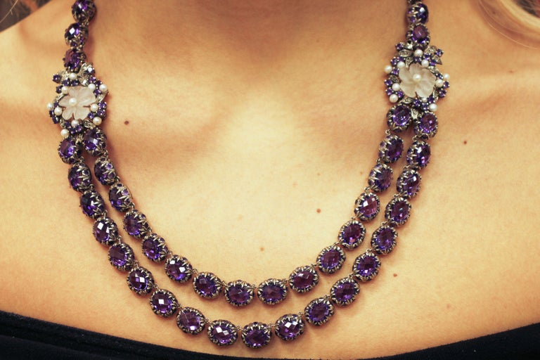 Diamonds Amethysts Rock Crystal Flowers Little Pearls Rose Gold Silver Necklace For Sale 3