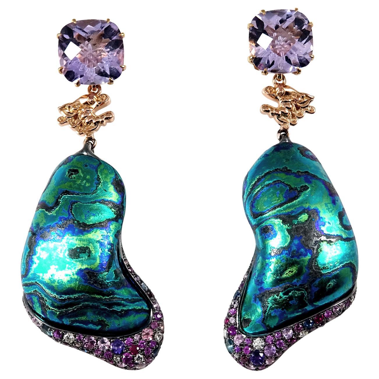 Diamonds Amethysts Sapphires 18 Karat Gold Sterling Silver Timascus Earrings