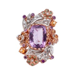 Diamonds, Amethysts, Topaz, Tsavorites, 9Kt Rose Gold and Silver Ring