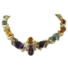 Diamonds, Amethysts, Topazes 18 Karat Yellow Gold Extraordinary Collier