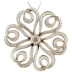 Diamonds and 18 Karat White Gold Flower Brooch 'Chain Not Included'