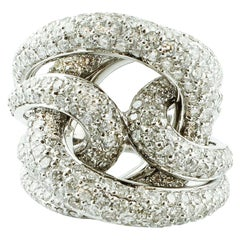 Diamonds and 18 Karat White Gold Intertwined Bands Ring