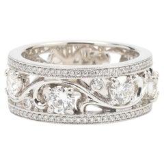 Diamonds and 18K White Gold Milgrain Band Ring