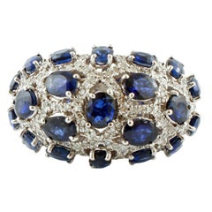 Diamonds and Blue Sapphires, White Gold Band Ring