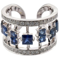 Diamonds and Blue Sapphires White Gold Fancy Band Ring Made in Italy