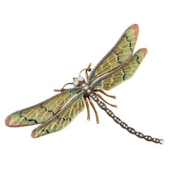 Diamonds and Enamel French Dragonfly Brooch