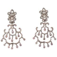 Diamonds and Fancy Sapphires, 18 Karat White Gold, Earrings