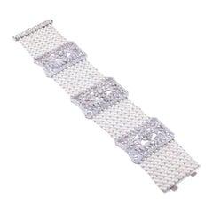 White Gold 18 K 750, Diamond Round, Pearls, The Wedding Queen Bracelet