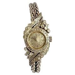 Diamonds and Platinum Bracelet Foliage Decor Watch, Automatic Winding