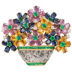 Diamonds and Precious Stones Flowers Bouquet Brooch