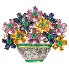 Diamonds and Precious Stones French Bouquet Brooch
