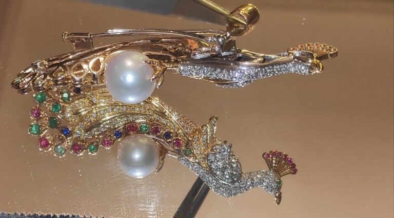 Brilliant Cut Diamonds and Precious Stones Peacock Brooch 18 Karat Gold For Sale
